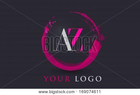 AZ Circular Letter Brush Logo. Pink Brush with Splash Concept Design.
