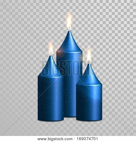 Aromatic blue glossy candles set. Vector 3D realistic isolated decorative candle sticks with burning flames on transparent background. Glittering gold glitter decoration