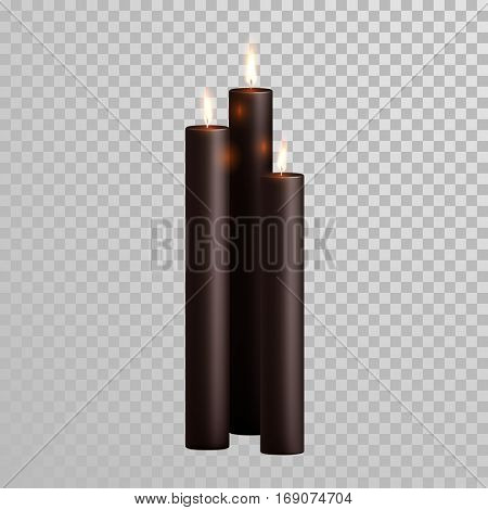 Vector black candles with burning flames of black wax paraffin