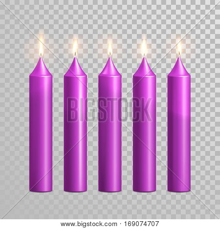 Romantic purple violet candle flame burning. Aromatic candles vector decorative set. Vector 3D realistic isolated round candle sticks glowing flames on transparent background. Decoration design