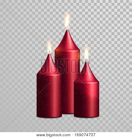 Romantic pink red candle flame burning. Aromatic candles vector decorative set. Vector 3D realistic isolated glittering candle sticks glowing flames on transparent background. Decoration design