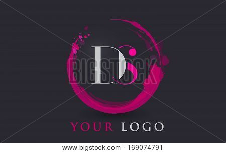 DS Circular Letter Brush Logo. Pink Brush with Splash Concept Design.