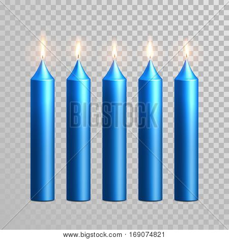 Vector candles with burning flames of blue wax paraffin isolated on transparent background. Decoration round cylindrical element design