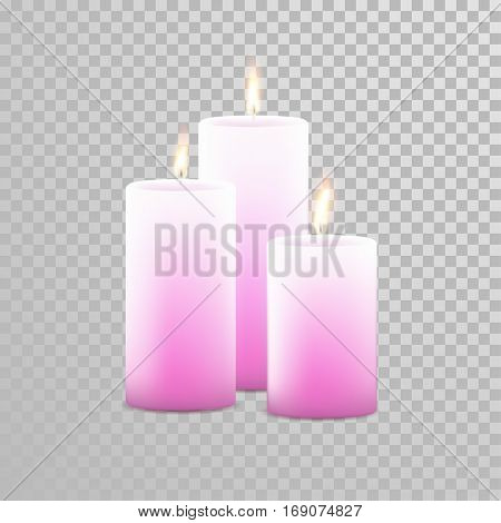 Romantic pink candle flame burning. Aromatic candles vector decorative set. Vector 3D realistic isolated round cylindrical candle sticks glowing flames on transparent background. Decoration design