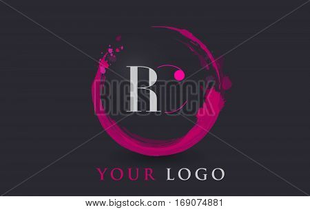 RC Circular Letter Brush Logo. Pink Brush with Splash Concept Design.