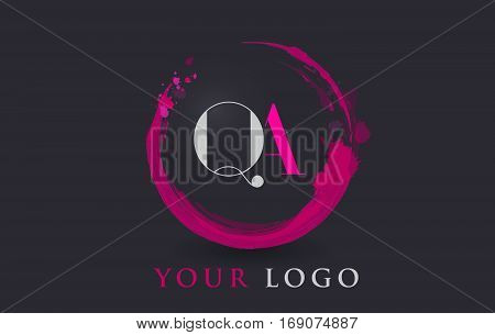 QA Circular Letter Brush Logo. Pink Brush with Splash Concept Design.