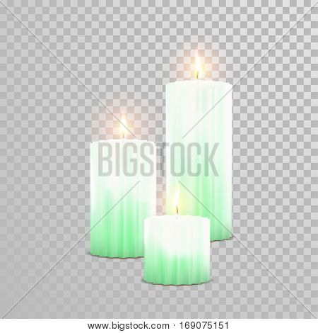 Vector candles with burning flames of green wax paraffin