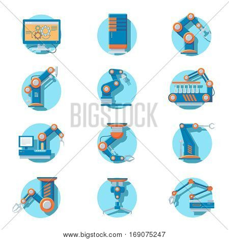 Automatic industrial robot icons set with robotic arms and mechanical machines isolated vector illustration