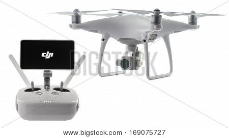 Varna Bulgaria - January 05 2016: Remote controler of DJI Phantom 4 Pro Plus drone UAV quadcopter which shoots 4k video and 21 mp still images and is controlled by wireless remote with a range of 4km isolated on white