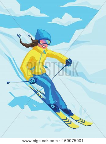 Vector illustration of happy girl on winter resort skiing there. Female on the ski on the background of snowy landscape. Young woman skier goes down the mountain slope.