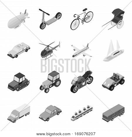 Transportation set icons in monochrome design. Big collection of transportation vector symbol stock illustration