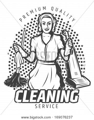 Vintage cleaning service template with pretty maid in gloves hoover mop and rag isolated vector illustration