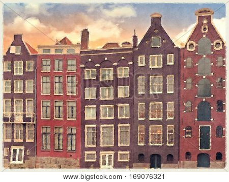 Digital watercolour of historic merchant houses along the canal side in Amsterdam, Netherlands.