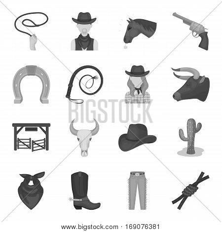 Rodeo set icons in monochrome design. Big collection of rodeo vector symbol stock illustration