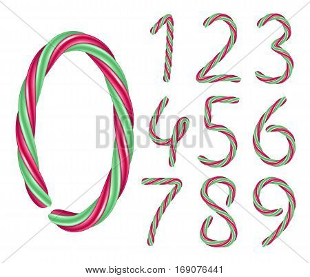 Candy cane numbers set. Hard candy digits. Vector illustration. Red and green colors.