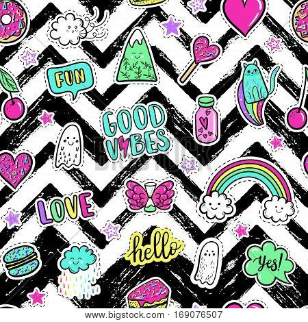 Vector Hand Drawn Fashion Pink Color Patches: Rainbow, Doughnut, Mountain, Cat, Ghost, Cloud, Macaro