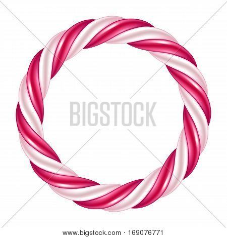 Round swirl candy cane background border. Hard candy frame. Vector illustration