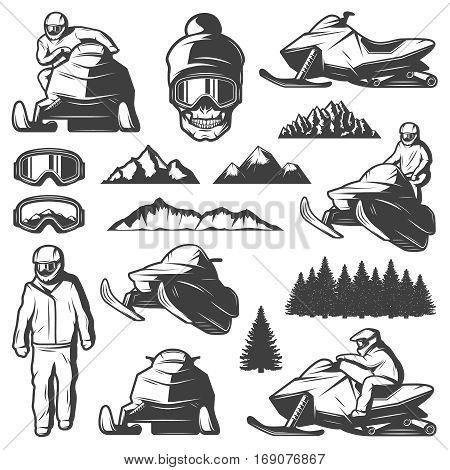 Vintage winter sport elements collection with man riding snowmobile mask skull mountains and forest isolated vector illustration