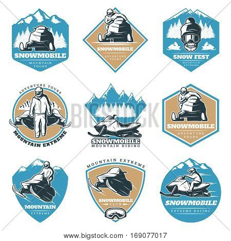 Colorful riding tour labels set with snowmobiles skull and winter landscapes in vintage style isolated vector illustration