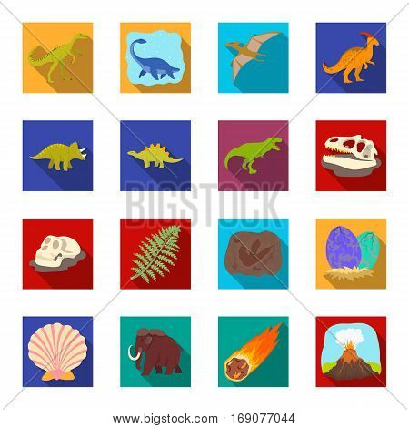 Dinosaurs and prehistoric set icons in flat design. Big collection of dinosaurs and prehistoric vector symbol stock illustration