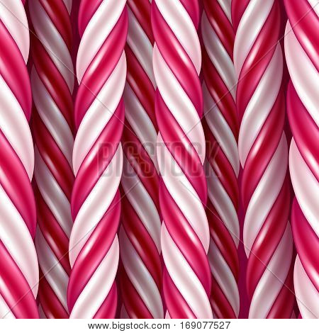 Candy cane background. Hard candy seamless horizontal pattern. Vector illustration.