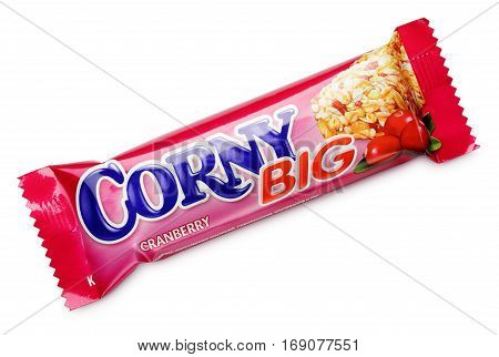 Corny Big (cranberry Flavor) Muesli Bar Isolated On White
