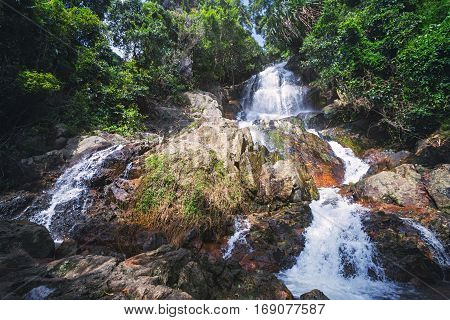 Na Muang Waterfall in the Jungle on Koh Samui Island, Thailand