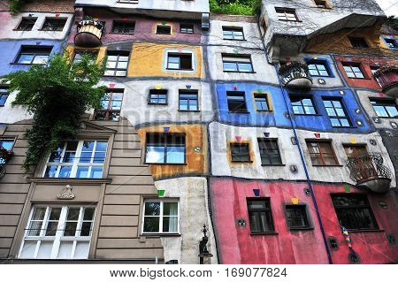 VIENNA AUSTRIA - JUNE 6: Facade of Hundertwasser house in Vienna on June 6 2016. Vienna is the capital and largest city of Austria.