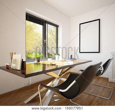 Modern neat home office interior decor with two contemporary modular chairs and a table in front of a window overlooking a garden, 3d rendering