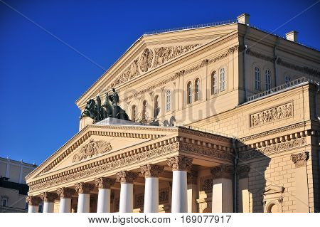 Facade of Bolshoi theater in city centre of Moscow