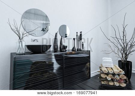 Modern black and grey bathroom interior with an elegant lacquered vanity cabinet and assorted ornaments, 3d rendering