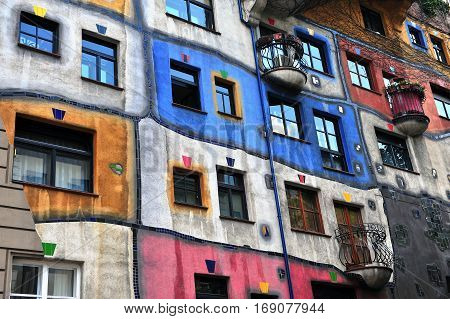 VIENNA; AUSTRIA - JUNE 6: Colorful facade of Hundertwasser house; Vienna on June 6; 2016. Vienna is the capital and largest city of Austria.