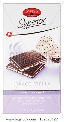Top View Of Swiss Prestige Superior Stracciatella Dark Chocolate Bar Isolated On White