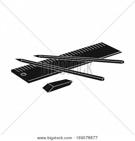 Drawing set of architect icon in monochrome design isolated on white background. Architect symbol stock vector illustration.