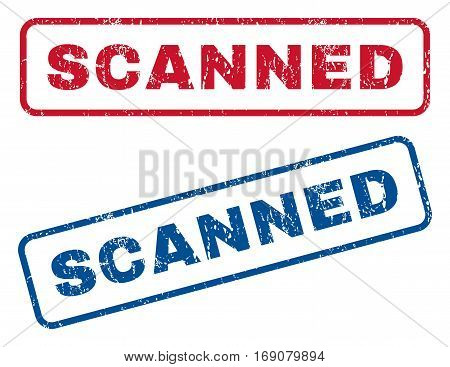Scanned text rubber seal stamp watermarks. Vector style is blue and red ink tag inside rounded rectangular shape. Grunge design and unclean texture. Blue and red stickers.