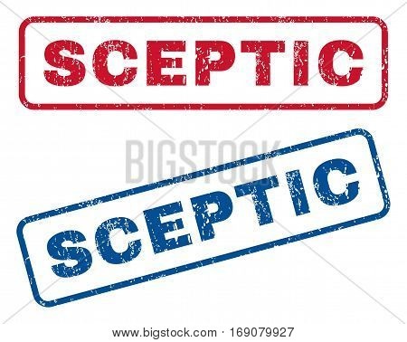 Sceptic text rubber seal stamp watermarks. Vector style is blue and red ink caption inside rounded rectangular banner. Grunge design and unclean texture. Blue and red emblems.