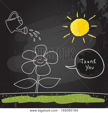 Kids thank you card vector illustration. Watering can, watering a flower on a sunny day. Chalk on blackboard sketch, scribble style doodle.