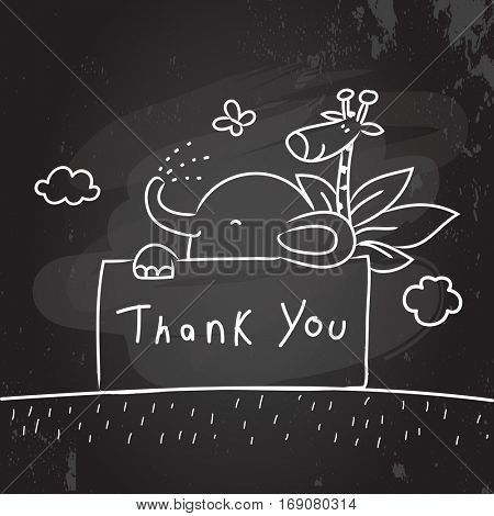 Kids thank you card vector illustration. Chalk on blackboard sketch, scribble style doodle, with animals.