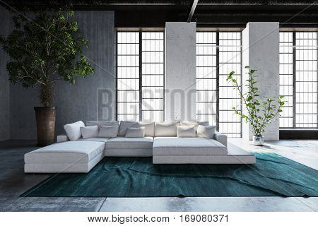 Large comfortable modular settee in a loft conversion with tall potted tree and feature floor to ceiling windows letting in sunlight, 3d rendering