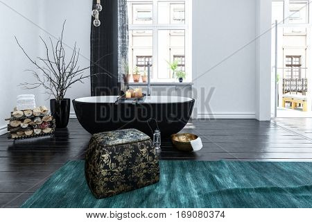 Unusual black boat shaped bath tub in an oriental style bathroom interior with bright windows overlooking urban apartments, 3d rendering