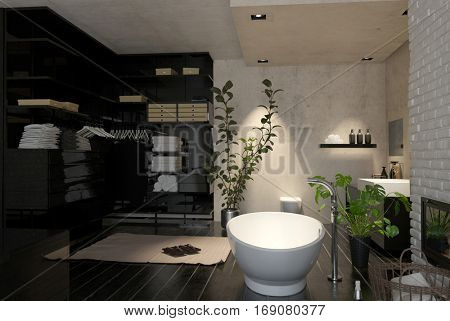 Large modern bathroom interior with wardrobe and dressing area and a freestanding boat shaped tub with houseplants, 3d rendering