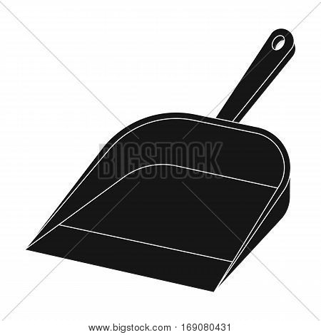 Dustpan icon in black design isolated on white background. Cleaning symbol stock vector illustration.