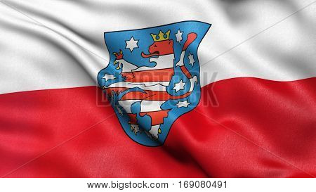 Flag of Thuringia waving in the wind. 3D illustration with high quality fabric texture.