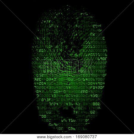 Green background with fingerprint and hexadecimal code. Modern security concept. Vector illustration