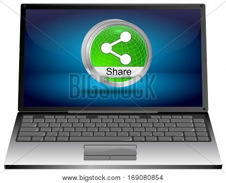 Laptop computer with Share Button - 3D illustration