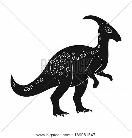 Dinosaur Parasaurolophus icon in black design isolated on white background. Dinosaurs and prehistoric symbol stock vector illustration.