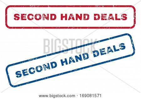 Second Hand Deals text rubber seal stamp watermarks. Vector style is blue and red ink caption inside rounded rectangular shape. Grunge design and scratched texture. Blue and red stickers.