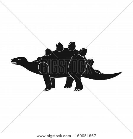 Dinosaur Stegosaurus icon in black design isolated on white background. Dinosaurs and prehistoric symbol stock vector illustration.