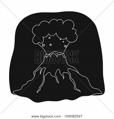 Volcano eruption icon in black design isolated on white background. Dinosaurs and prehistoric symbol stock vector illustration.