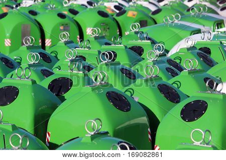 stock of new large trash bins for recycling glass